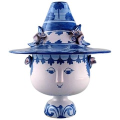 Large Bjørn Wiinblad, the Blue House, Figure with Lid in the Form of a Hat