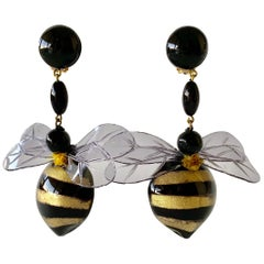 Large Black and Gold Bumblebee Statement Earrings