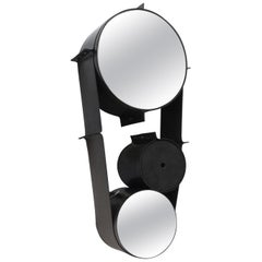 Large Black and Grey Leather Wrapped Wall Mirror, France, 2018