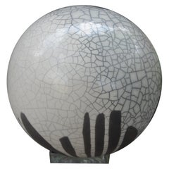 Large Black and White Abstract Sphere Sculpture Attributed to Yuri Zatarain