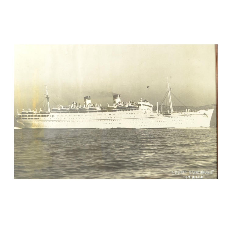 Black and white poster depicting the steamship Conte Biancamano Italia Società di navigazione Genova. Coeval frame. Good condition. Including frame 103 x 79 cm.  Launched in 1925, Conte Biancamano is considered the first Italian