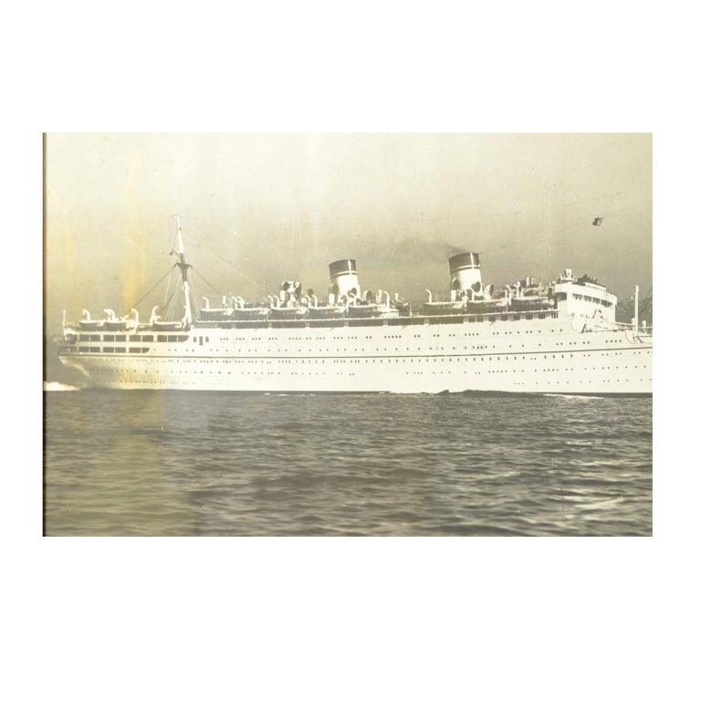 Italian Large Black and White Historical Picture of the Ship Conte Biancamano For Sale