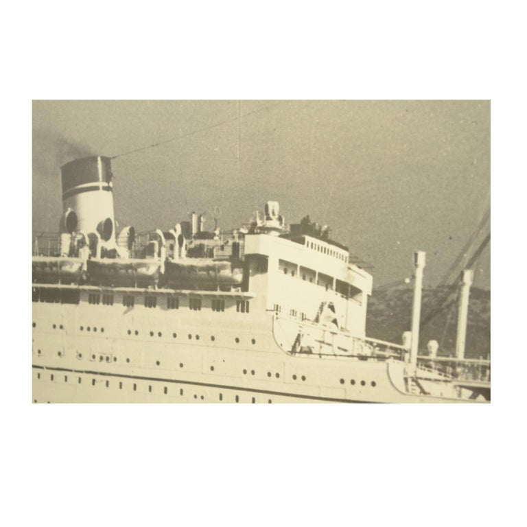Mid-20th Century Large Black and White Historical Picture of the Ship Conte Biancamano For Sale