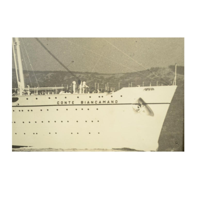 Large Black and White Historical Picture of the Ship Conte Biancamano For Sale 1