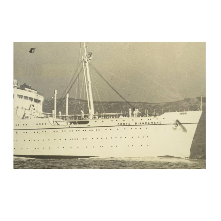 Large Black and White Historical Picture of the Ship Conte Biancamano For Sale 2