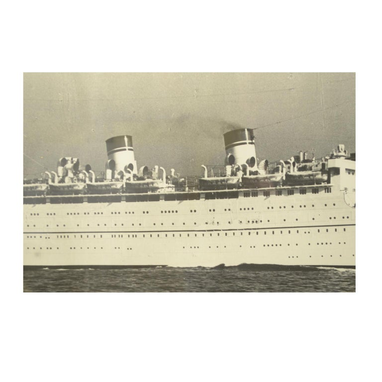 Large Black and White Historical Picture of the Ship Conte Biancamano For Sale 3