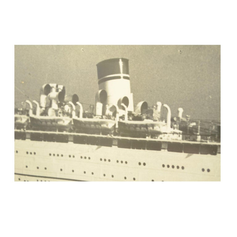 Large Black and White Historical Picture of the Ship Conte Biancamano For Sale 4