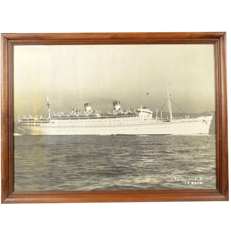 Large Black and White Historical Picture of the Ship Conte Biancamano For Sale