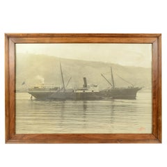 Large Black and White Historical Picture of the Ship Virgen De Africa Cadiz 1917