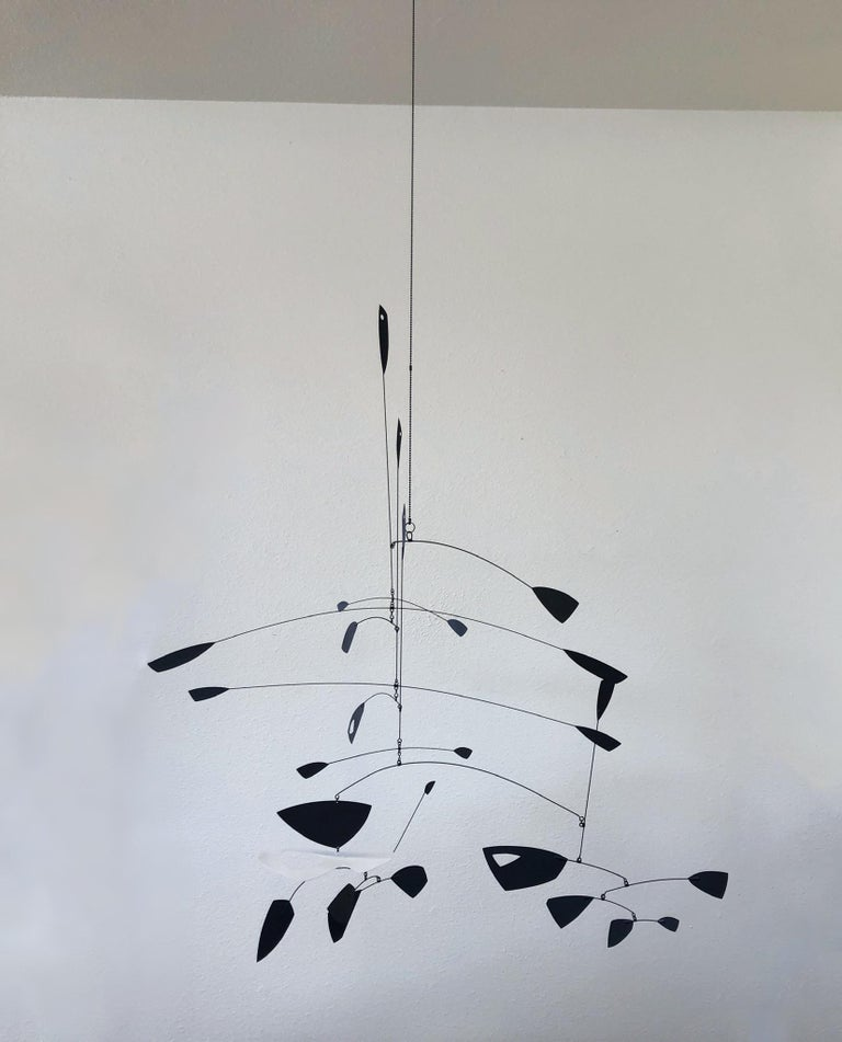 Modern Large Black and White Kinetic Mobile Sculpture by Robert Delaney For Sale