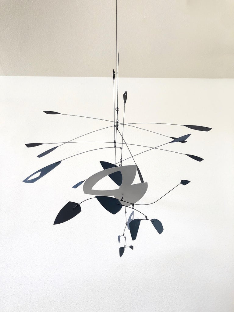 American Large Black and White Kinetic Mobile Sculpture by Robert Delaney For Sale