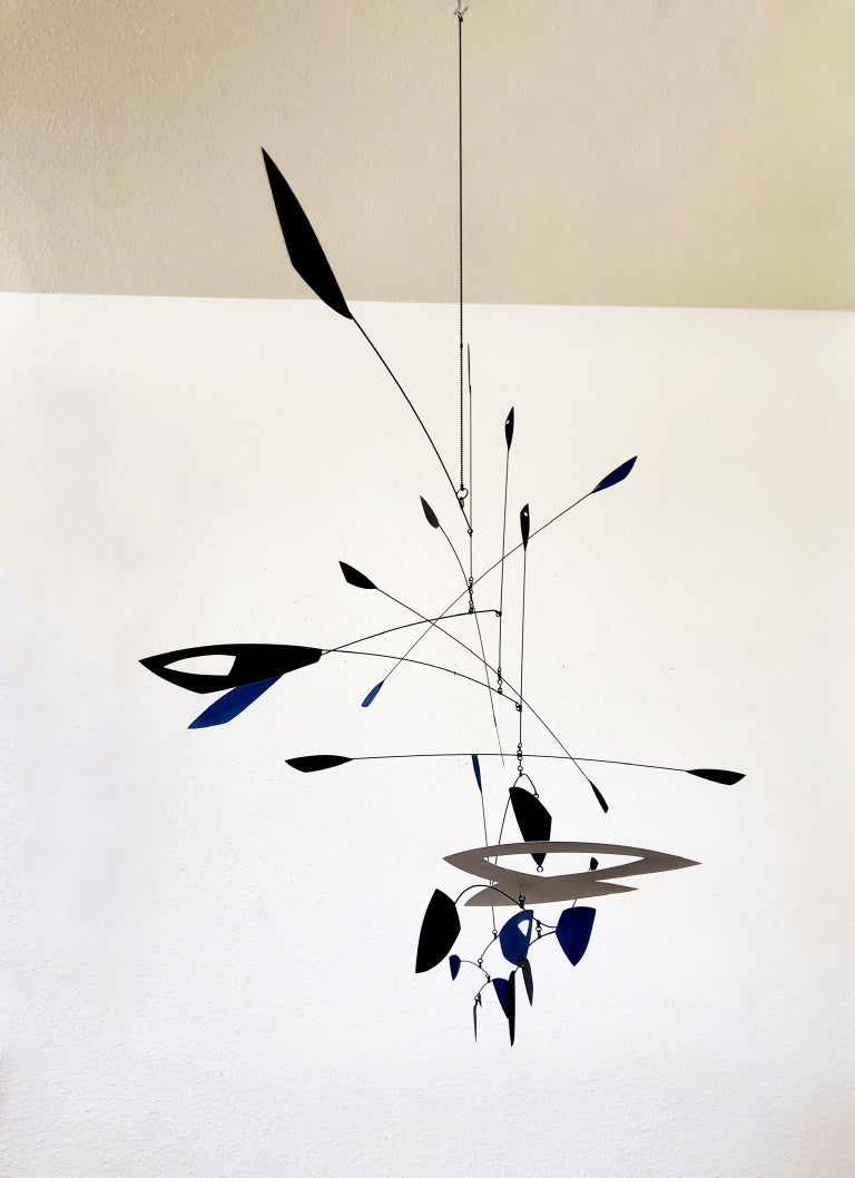 Lacquered Large Black and White Kinetic Mobile Sculpture by Robert Delaney For Sale