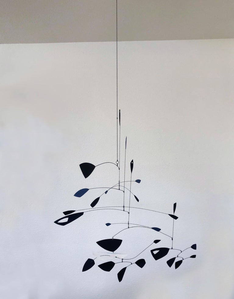 Steel Large Black and White Kinetic Mobile Sculpture by Robert Delaney For Sale