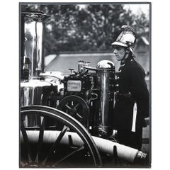 Large Black and White Photo of a Fireman, 20th Century
