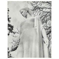 Large Black and White Photograph of Female Sculpture