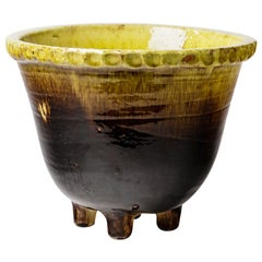 Large Black and Yellow Mid-20th Century Ceramic Flower Pot Plantersaccolay, 1960