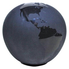 Large Black Art Glass Stylized World Globe Vase