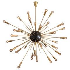 Italian Black & Brass Mid-Century Modern Style Sputnik Pendant