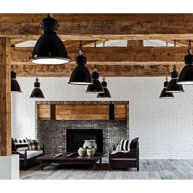 Large Black Enamel Vintage Industrial Clear Glass Pendant Lamps For Sale 2