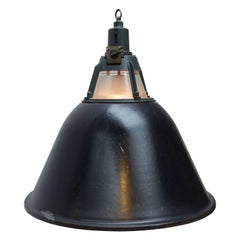 Large Black Enamel Vintage Industrial Holophane Glass Pendant Lights (6x)
