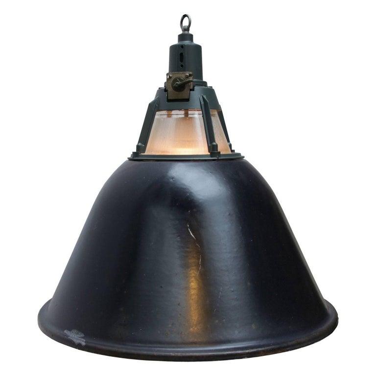Large Black Enamel Vintage Industrial Holophane Glass Pendant Light