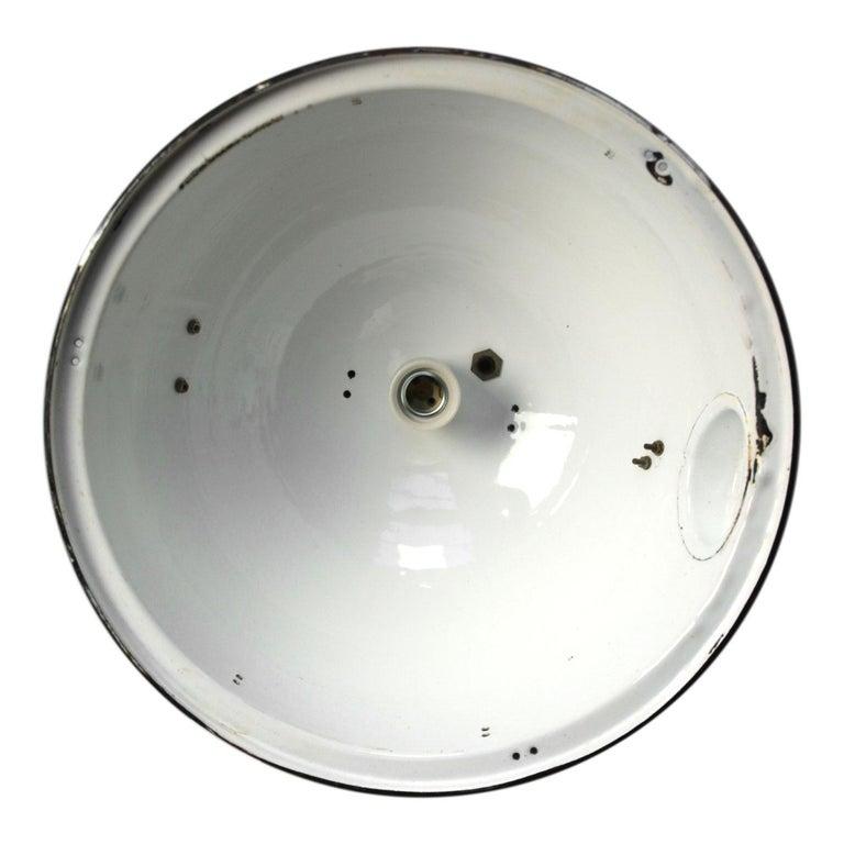 Cast Large Black Enamel Vintage Industrial Pedant Lights  For Sale