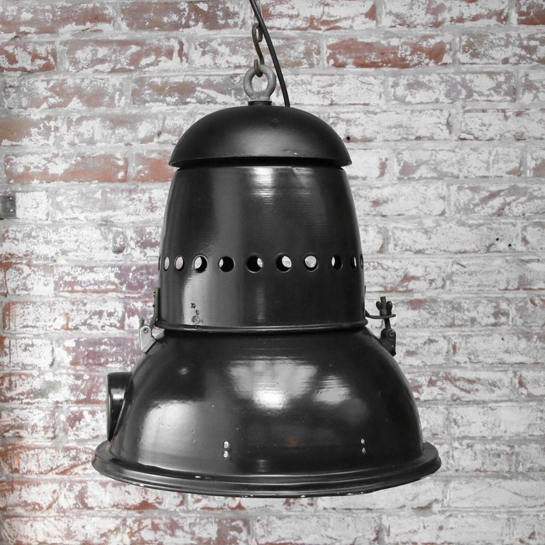 Large Black Enamel Vintage Industrial Pedant Lights  In Good Condition For Sale In Amsterdam, NL