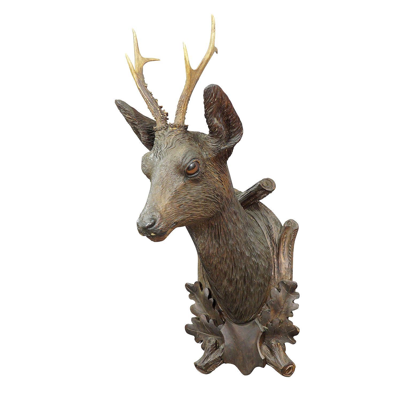 Large Black Forest Carved Deer Head by Madl & Son, Ca. 1900