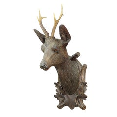 Large Black Forest Carved Deer Head by Madl & Son, Ca. 1900