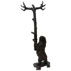 Large Black Forest Carved Wood Dog Hall Tree, Switzerland, circa 1900
