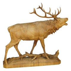 Large Black Forest Wooden Carved Stag Sculpture, ca. 1920 Pinterest Button Item