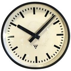 Large Black Industrial Clock From Pragotron, 1960s