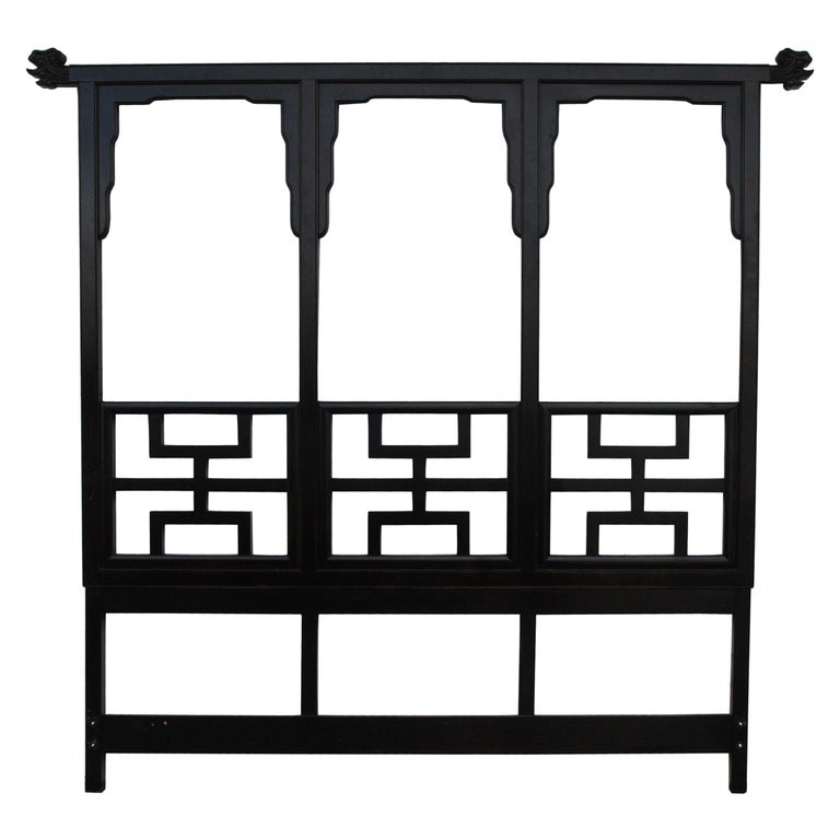 Large Black Lacquered Chin Hua Headboard by Century Furniture For Sale
