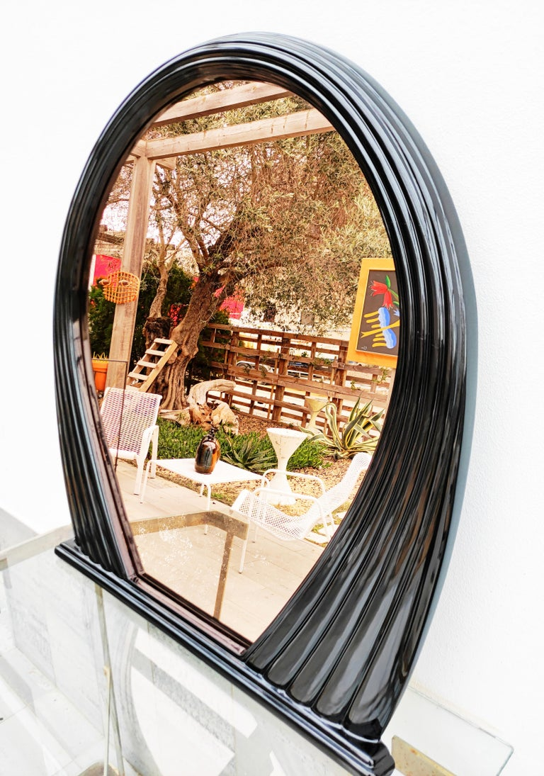 Large Black Lacquered Mirror, France, 1970s For Sale 1