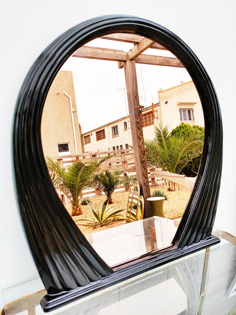 Large Black Lacquered Mirror, France, 1970s For Sale 2