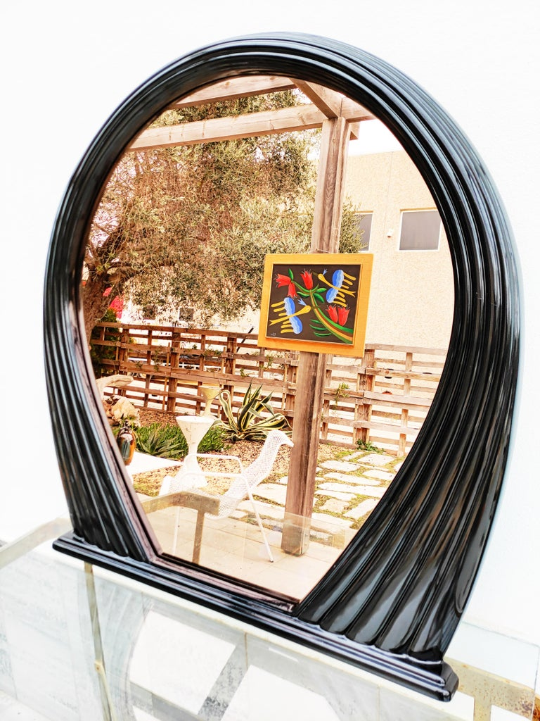 Large Black Lacquered Mirror, France, 1970s For Sale 3