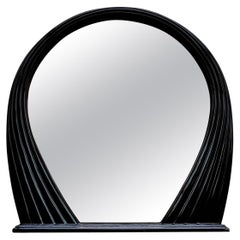 Large Black Lacquered Mirror, France, 1970s