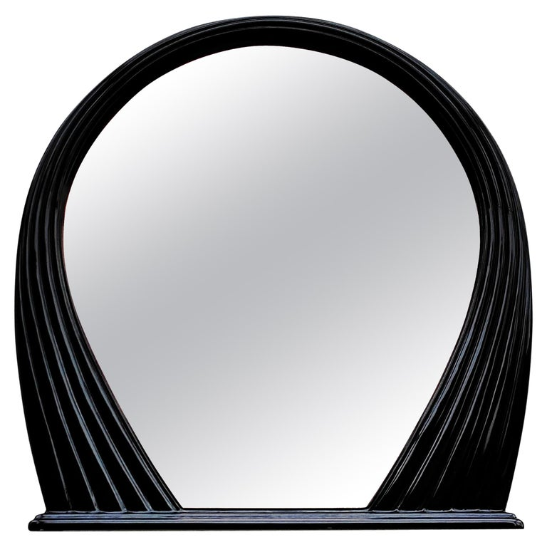 Large Black Lacquered Mirror, France, 1970s For Sale