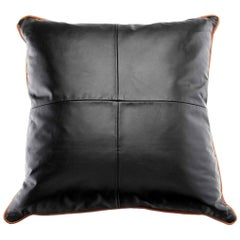 Large Black Leather Pillow with Leather Piping Trim