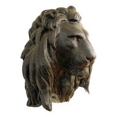 Large Black Lion Head in Fiberglass
