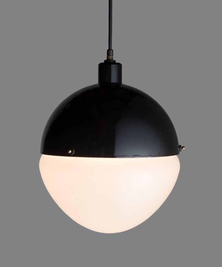 Mid-Century Modern Large Black Metal and Frosted Glass Globe Pendant, Italy, 21st Century For Sale