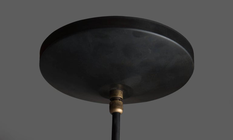 Enameled Large Black Metal and Frosted Glass Globe Pendant, Italy, 21st Century For Sale