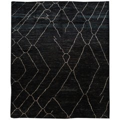 Large Black Modern Moroccan Style Wool Rug