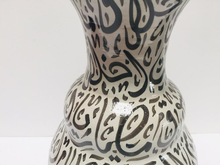 Moroccan Glazed Ceramic Vase with Arabic Black Calligraphy Writing, Fez For Sale 5