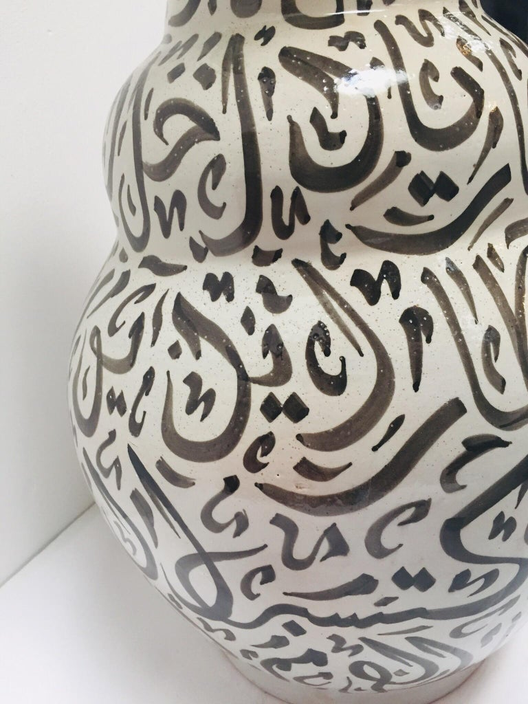 Moroccan Glazed Ceramic Vase with Arabic Black Calligraphy Writing, Fez For Sale 6