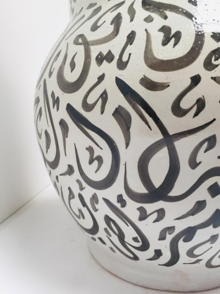 Moroccan Glazed Ceramic Vase with Arabic Black Calligraphy Writing, Fez For Sale 11