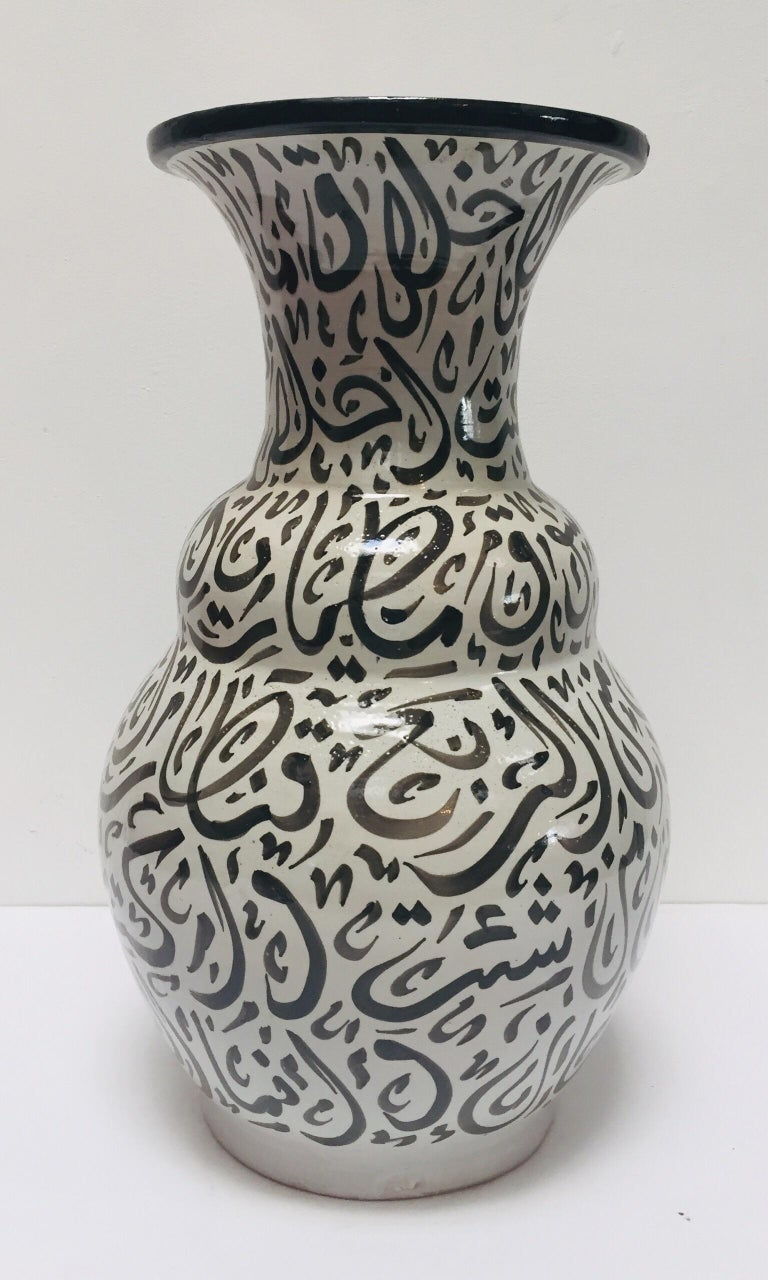Hand-Crafted Moroccan Glazed Ceramic Vase with Arabic Black Calligraphy Writing, Fez For Sale