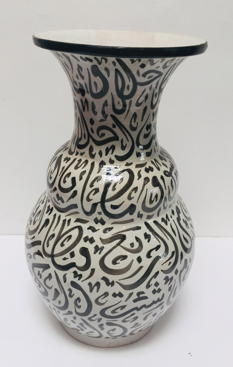 Moroccan Glazed Ceramic Vase with Arabic Black Calligraphy Writing, Fez In Good Condition For Sale In North Hollywood, CA