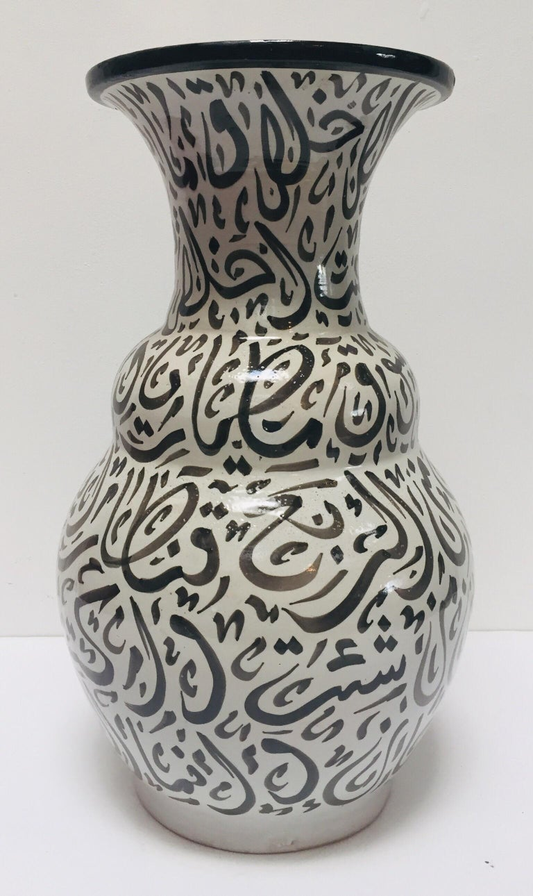20th Century Moroccan Glazed Ceramic Vase with Arabic Black Calligraphy Writing, Fez For Sale