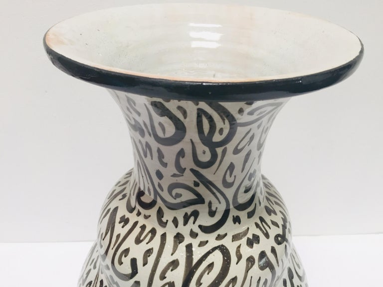 Moroccan Glazed Ceramic Vase with Arabic Black Calligraphy Writing, Fez For Sale 1